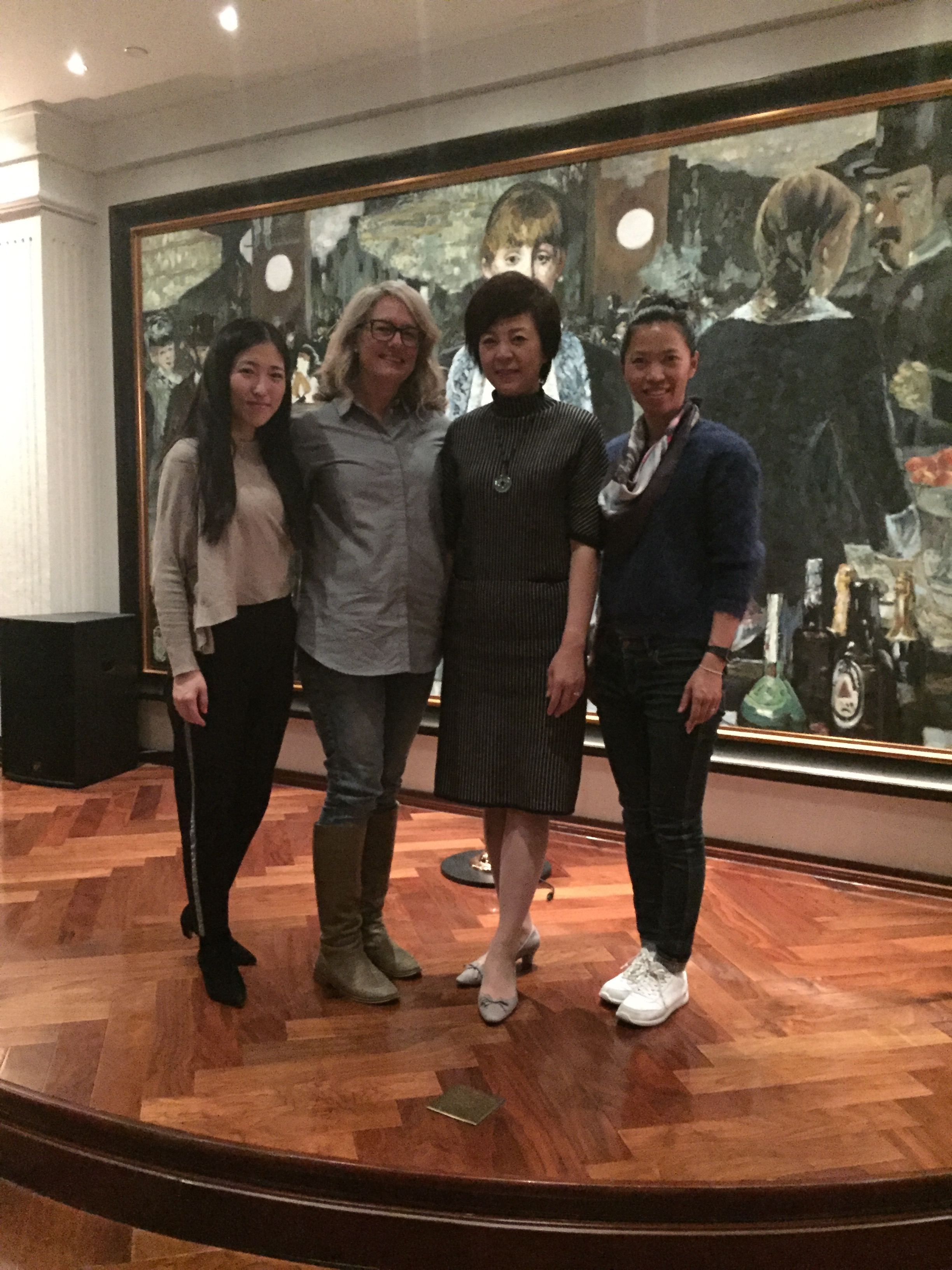 The Four great women at the Manet Museum from the left the Curator Simone Wang, me, Catherine Jin  collector and founder of Manet Museum and my International exhibition coordinator / translator Simone Wang