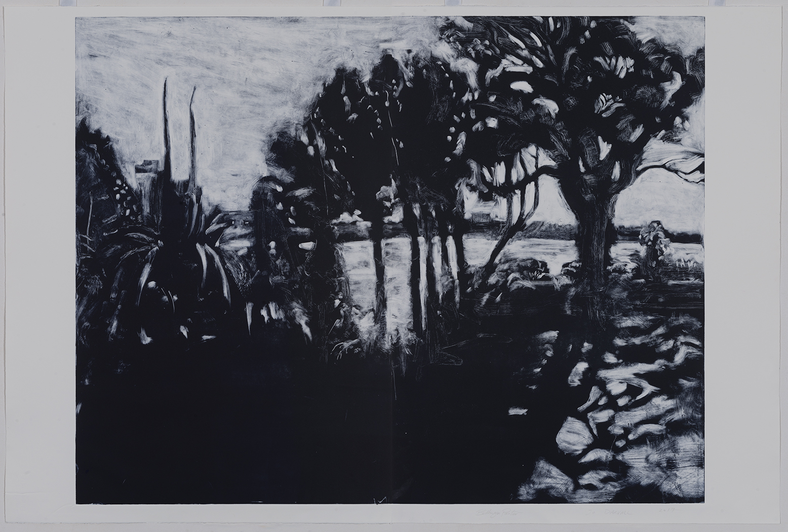 Heathcote Prints a collaboration Jo Darvall and Bethwyn Porter 2017  Black Sands of the Swan River 99 x 150cm