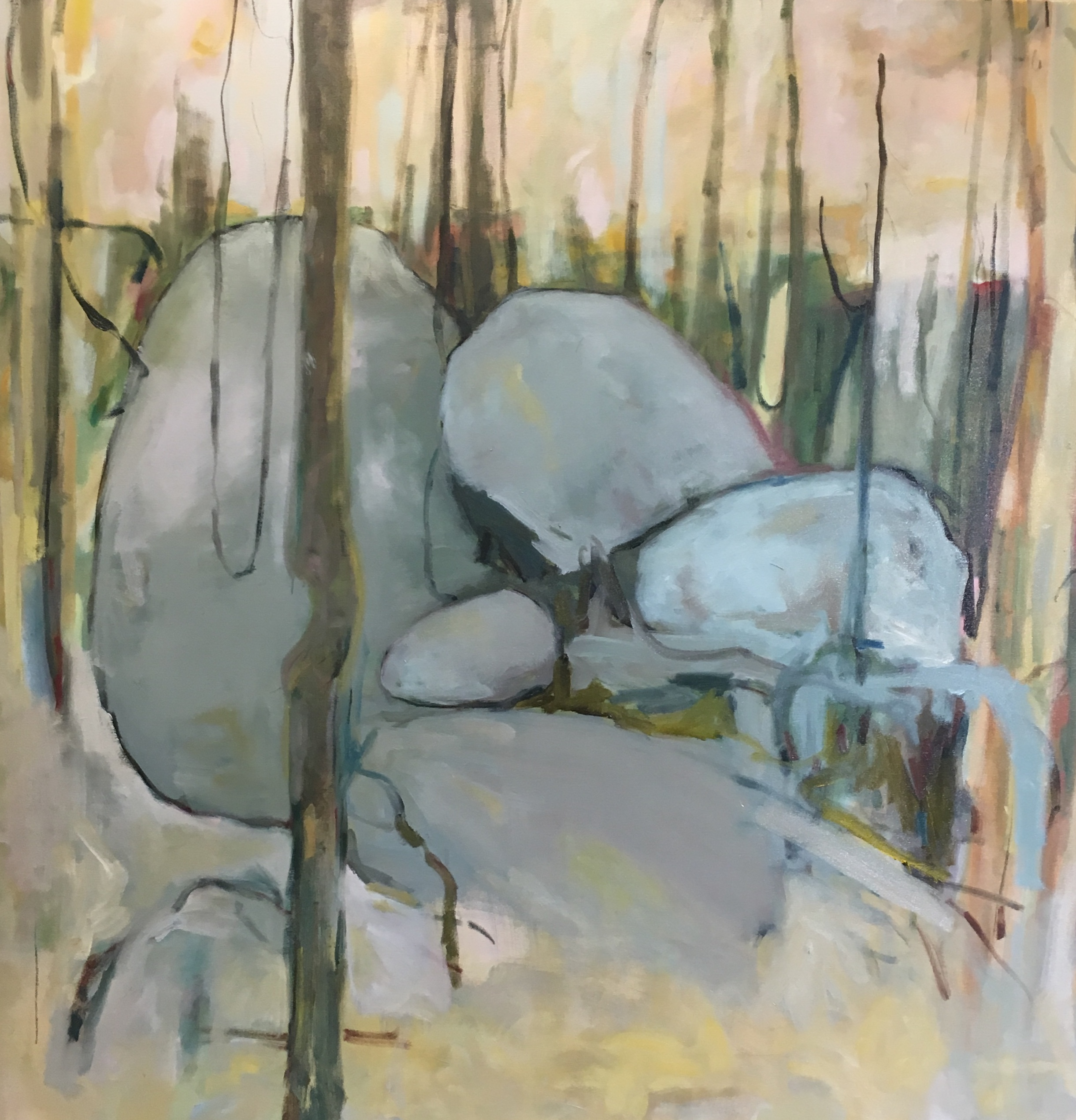 Mundaring Rocks 2018, oil on canvas 120 x 120 2018 (enquiries contact the artist)