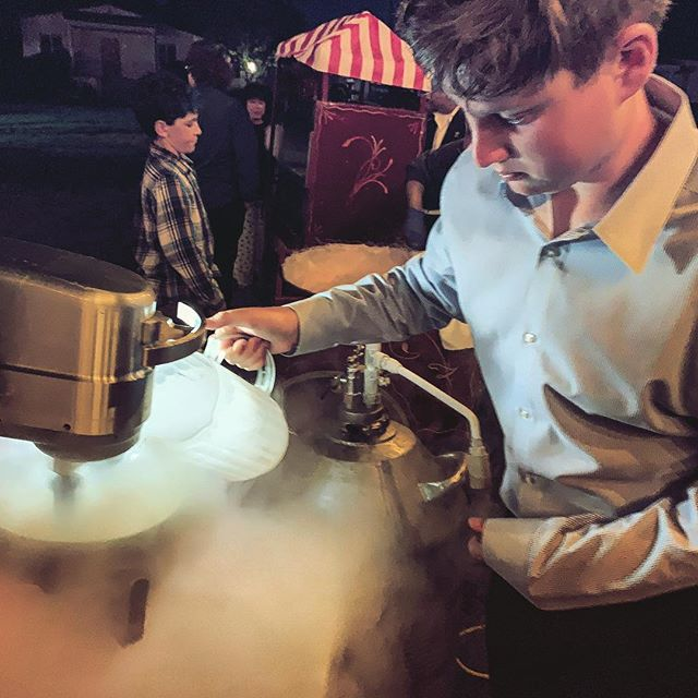 Some of the guests wanted to get in on the freezing.  #liquidnitrogen #icecream #catering #barmitzvah