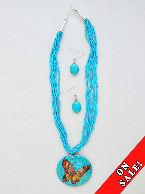 BEADED NECKLACE EARRING COMBINATIONS  WITH DECORATIVE ABALONE SHELL PENDANTS