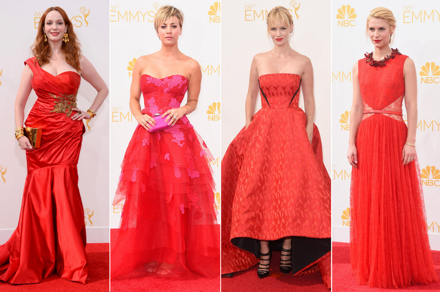 From left, Christina Hendricks in Marchesa; Kaley Cuoco-Sweeting in Monique Lhuillier; January Jones in Prabal Gurung; and Claire Danes in Givenchy couture.  From left: Jordan Strauss/Invision, via Associate dPress; Frazer Harrison/Getty Images; Jason Merritt/Getty Images; Frazer Harrison/ Getty Images