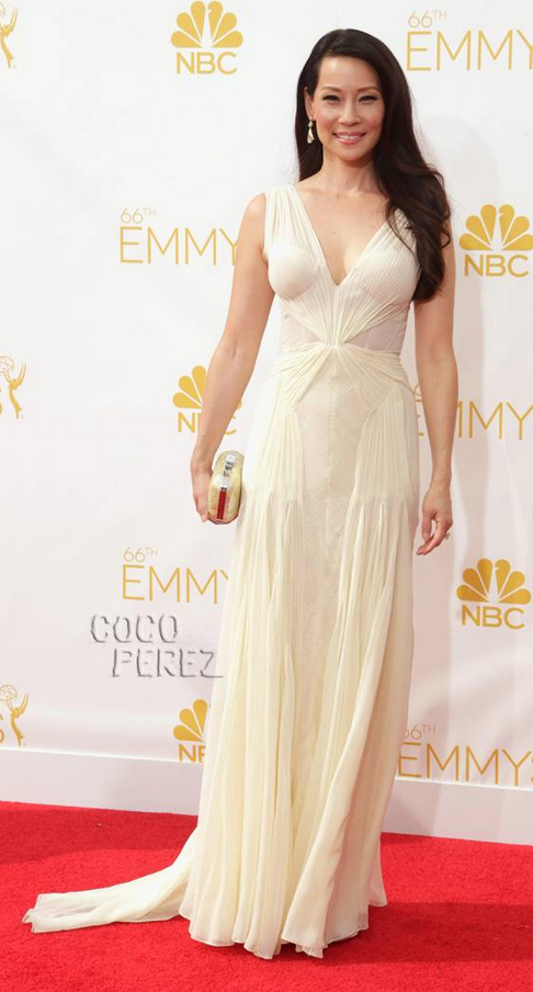 Lucy Lui in Zac Posen. Image via Just Jared.