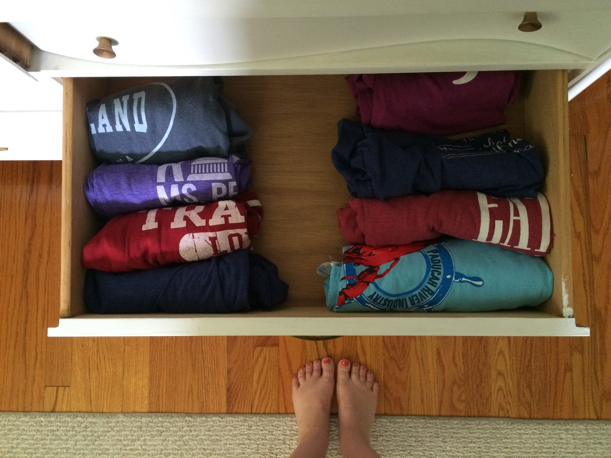 My t-shirt drawer. BELIEVE in the vertical fold.