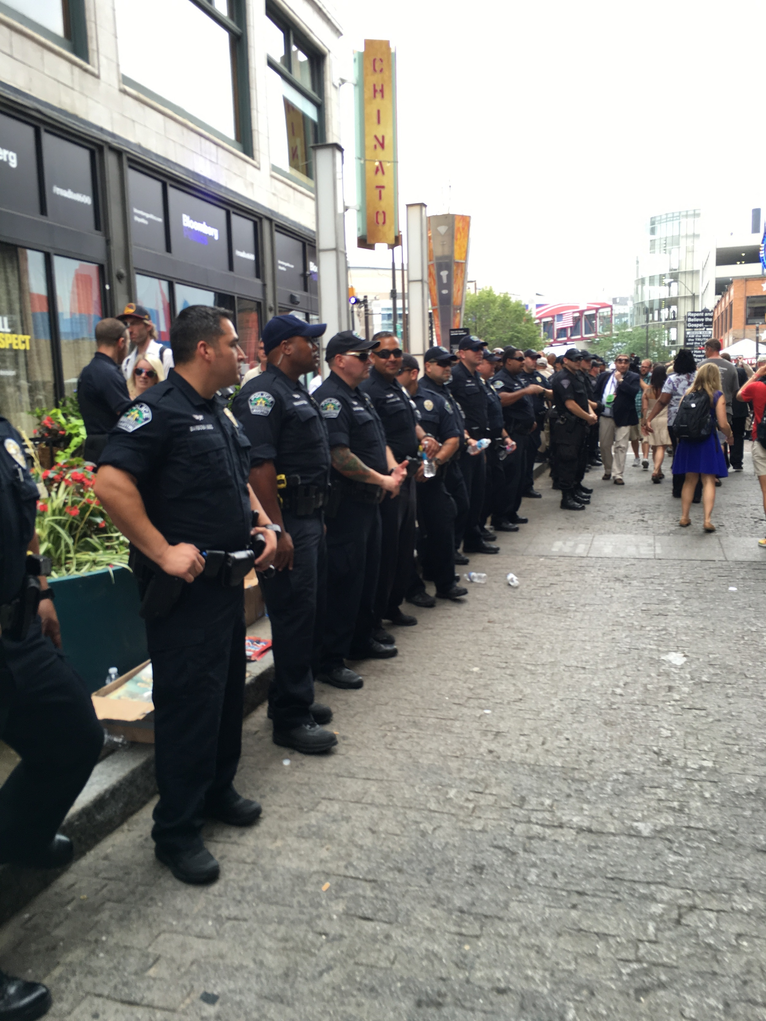 The line of police officers at the RNC