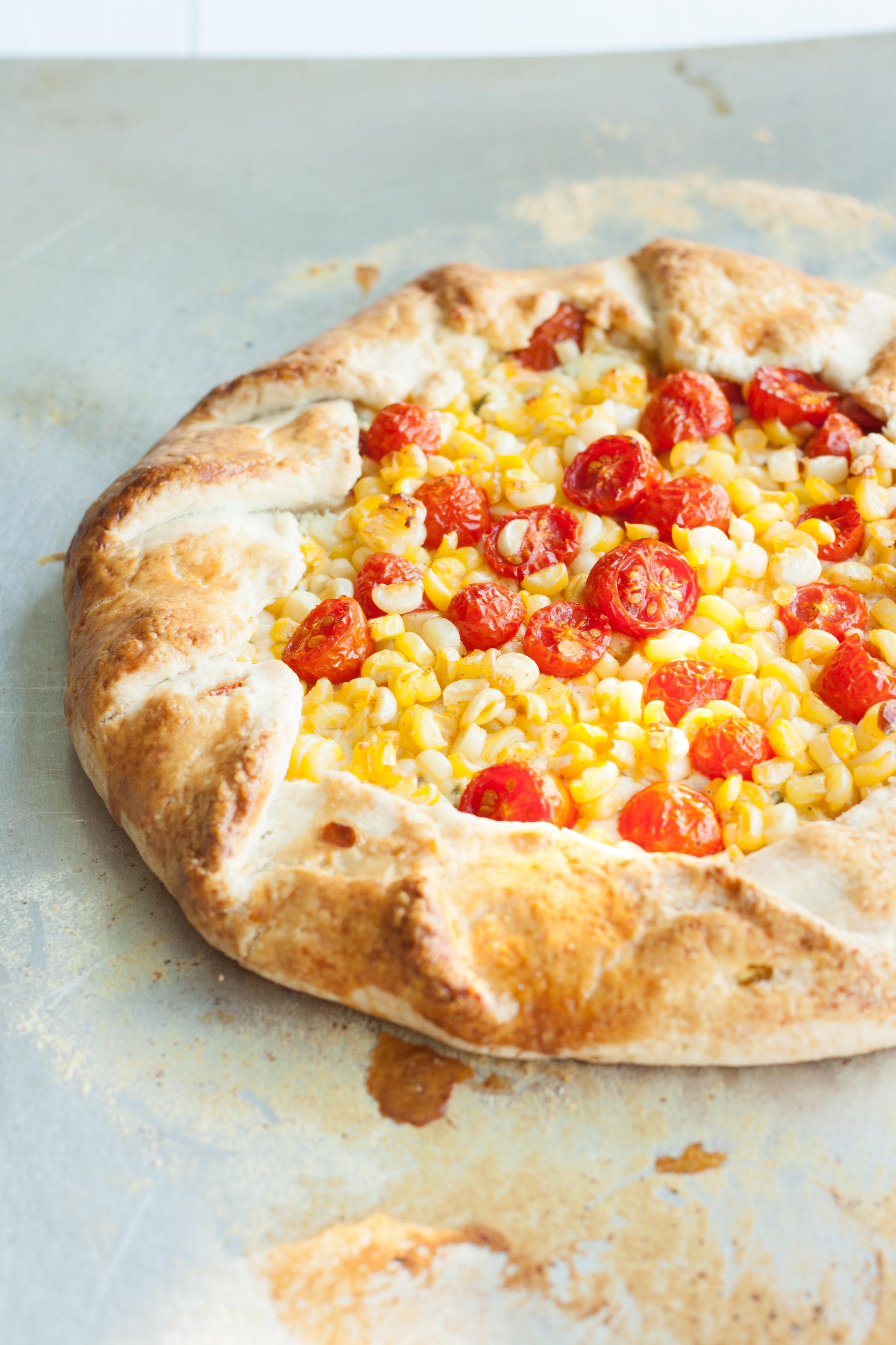corn and tomato basil galette