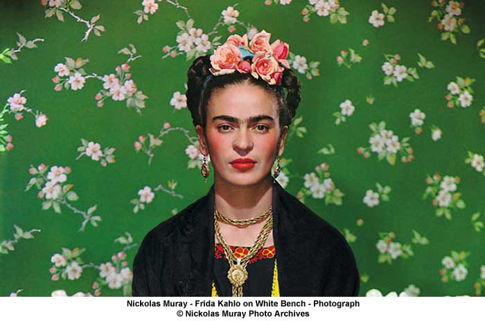 Part of a portrait photograph of Friday Khalo by photographer (and lover) Nickolas Muray. Called Frida Khalo on White Bench.