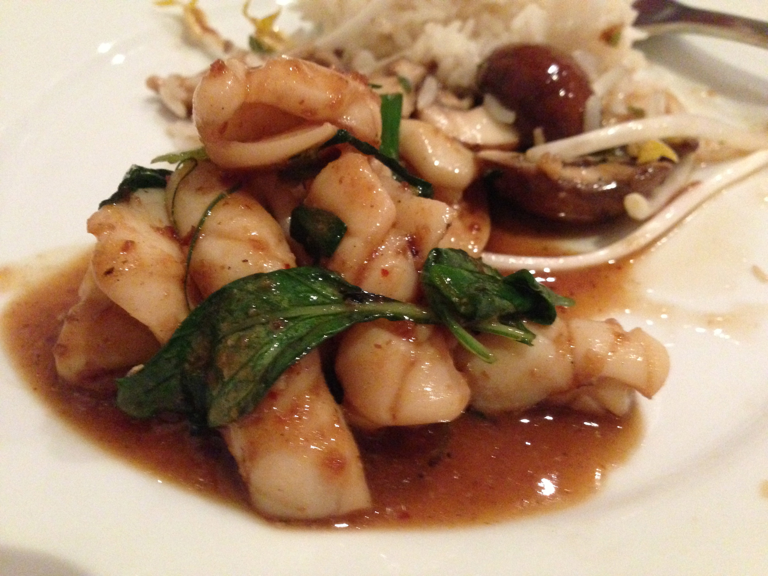 Stir fried SA squid with chilli jam and Thai basil