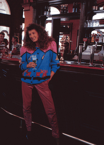 '80s essential: perm, jumper, leather pants