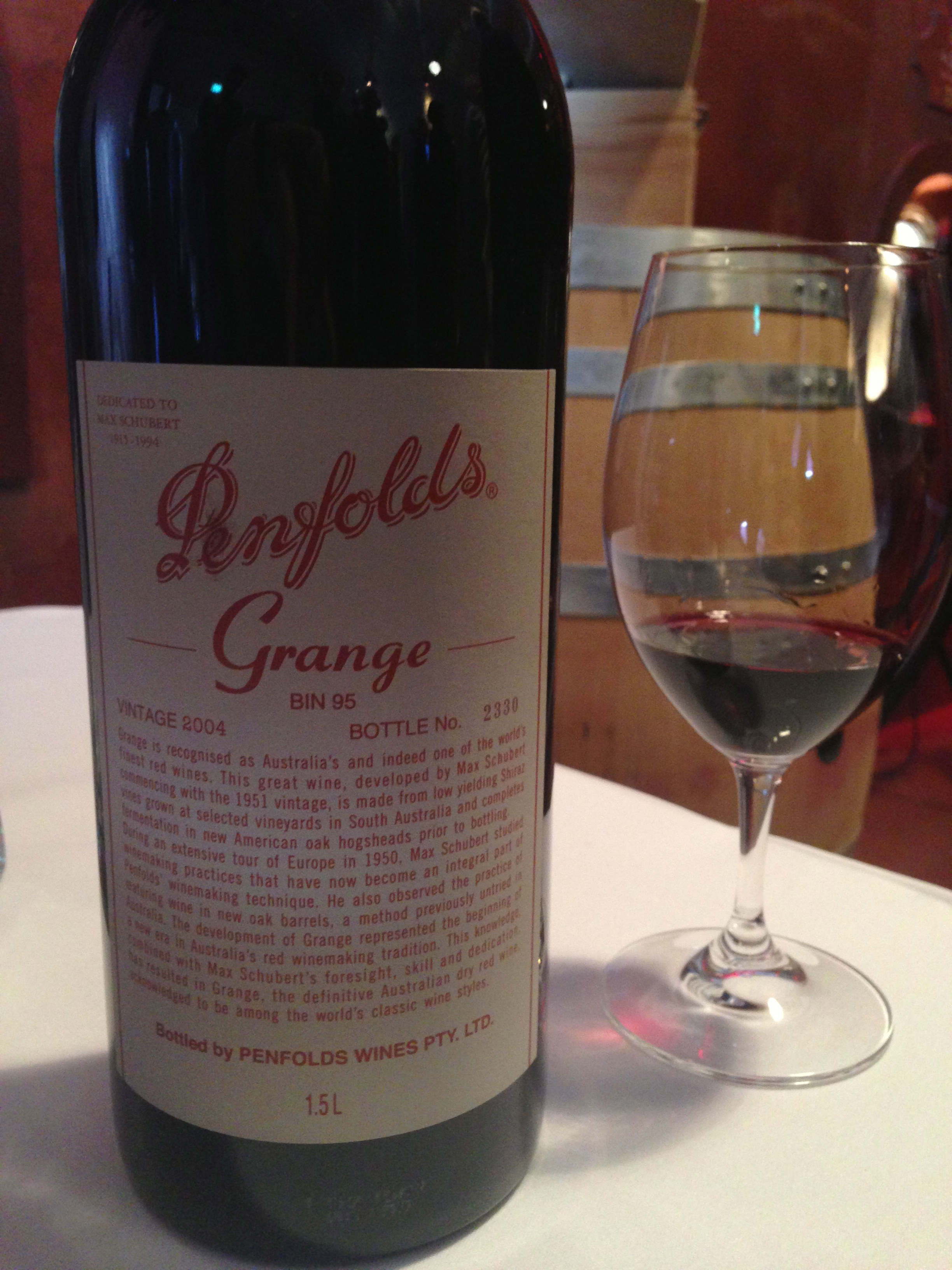 Morning tea tipple at Penfolds. As you do.