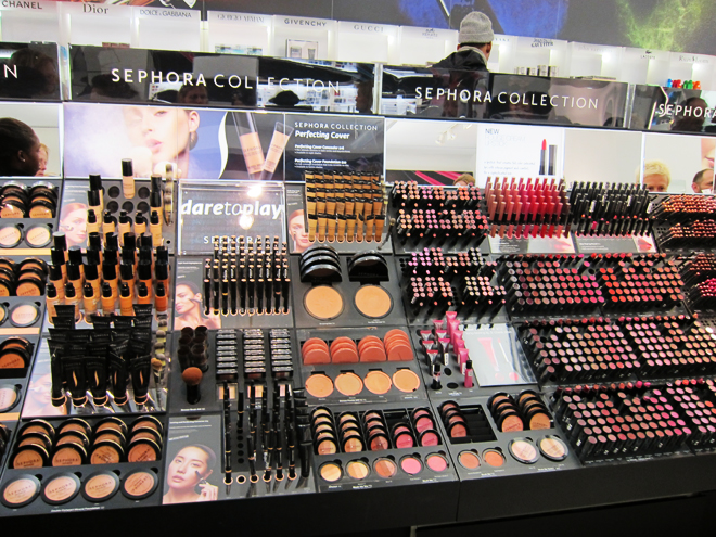 Inside a Sephora store - displays that invite you to touch, test and of course, buy.