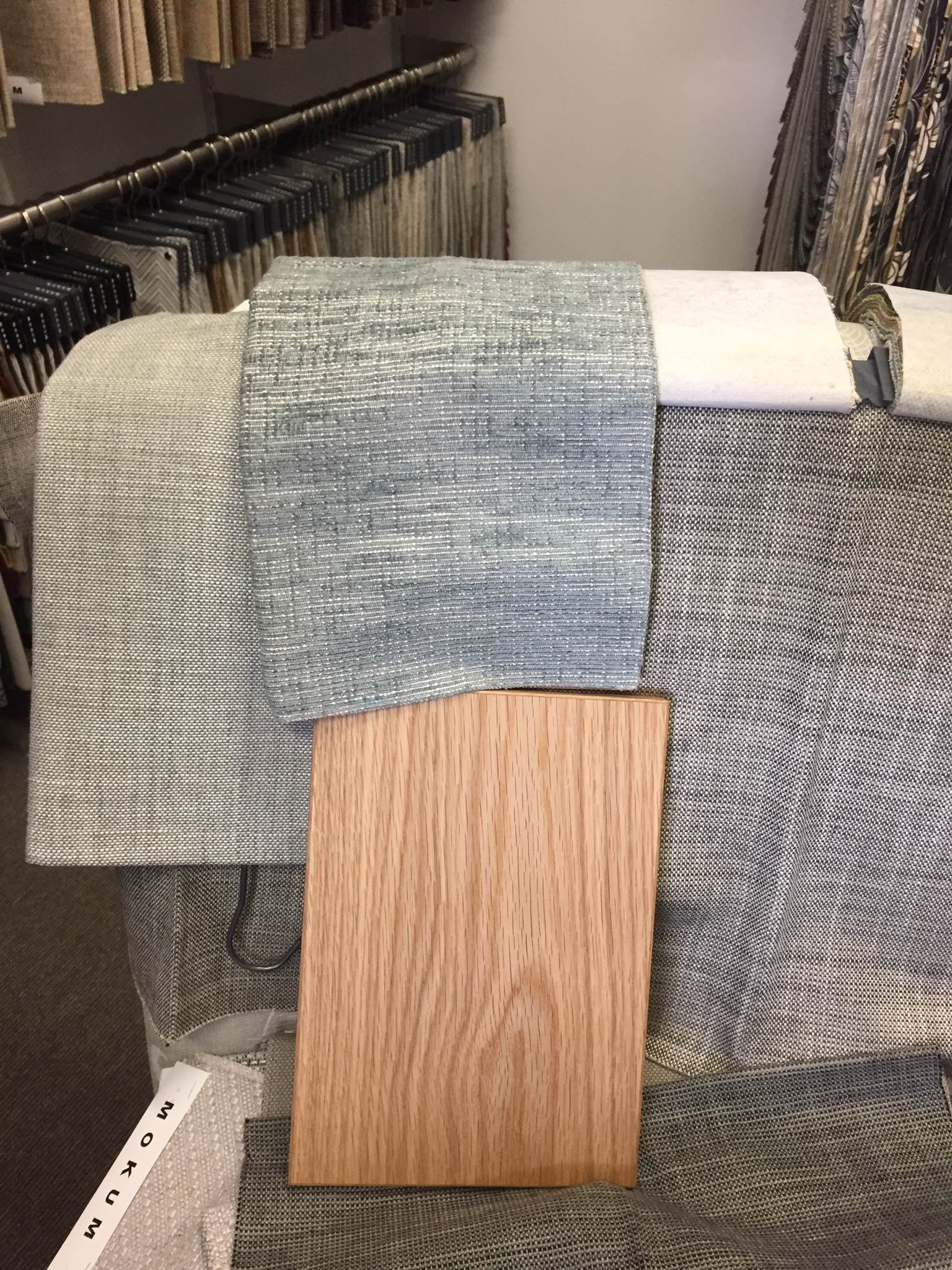 American Oak veneer we're using in the dining/living room area is lined up against some potential Hokum fabrics.