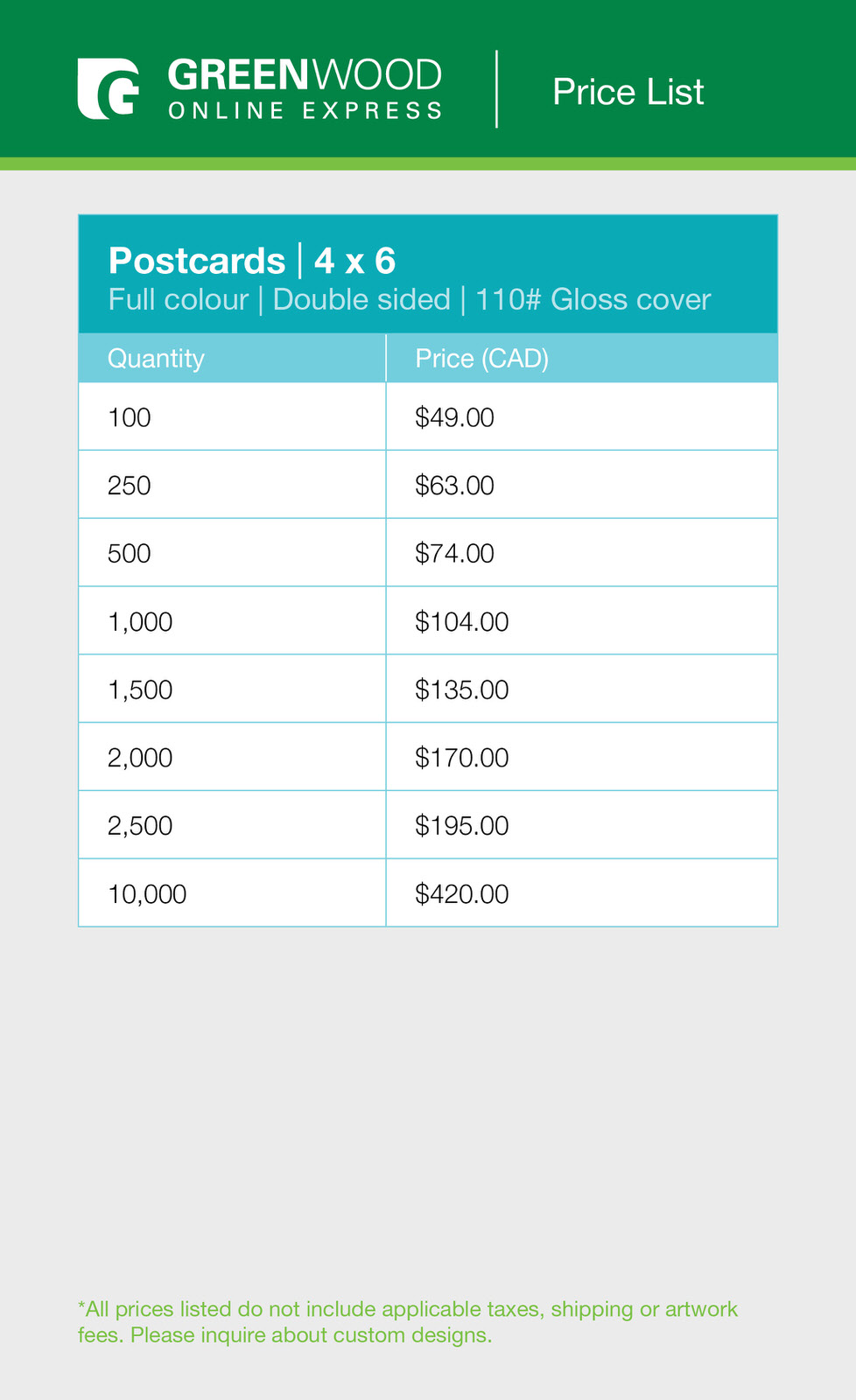 Greenwood postcards 4x6 double sided price list.jpg