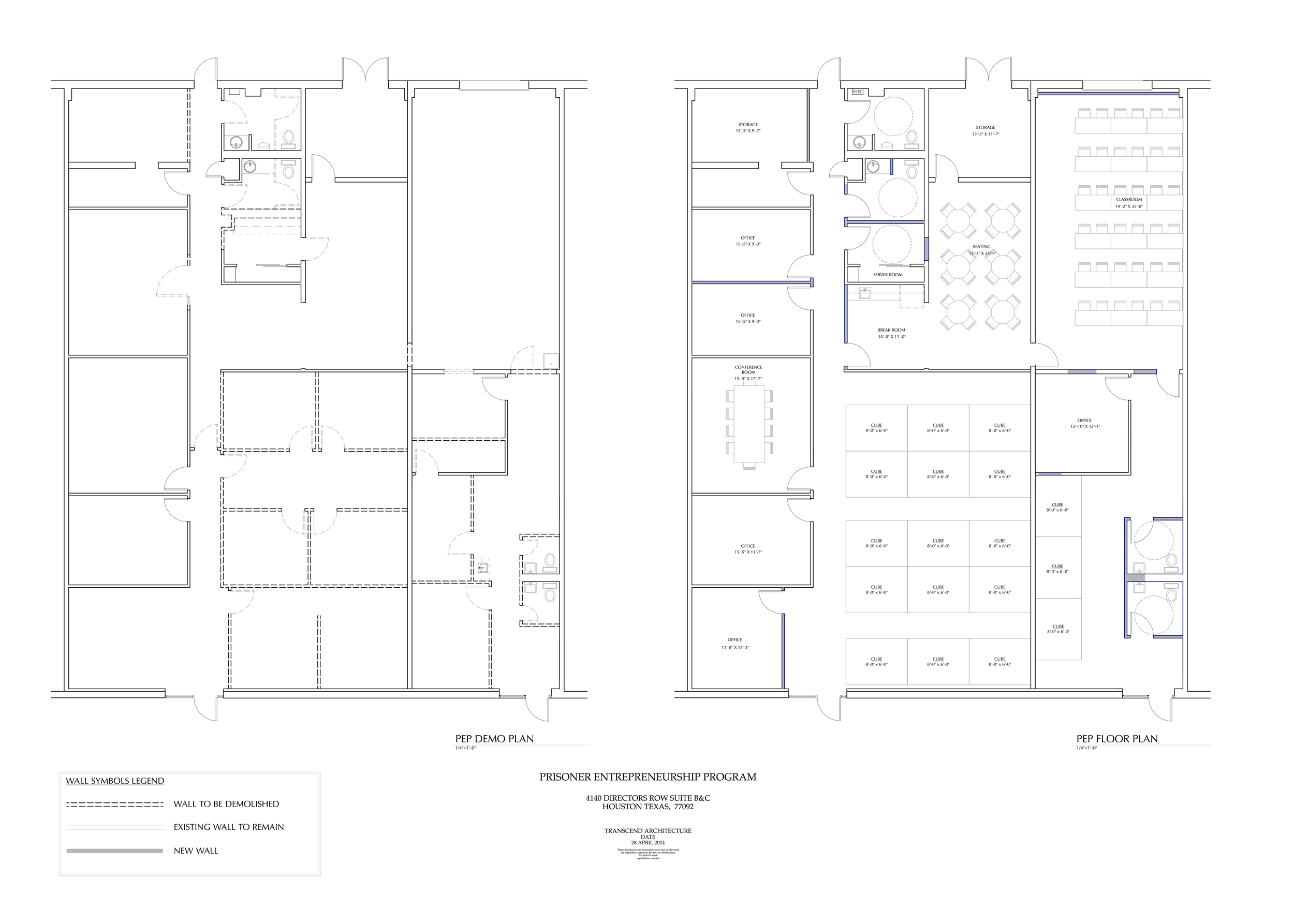 Demolition Plan and New Floor Plan for the PEP Program