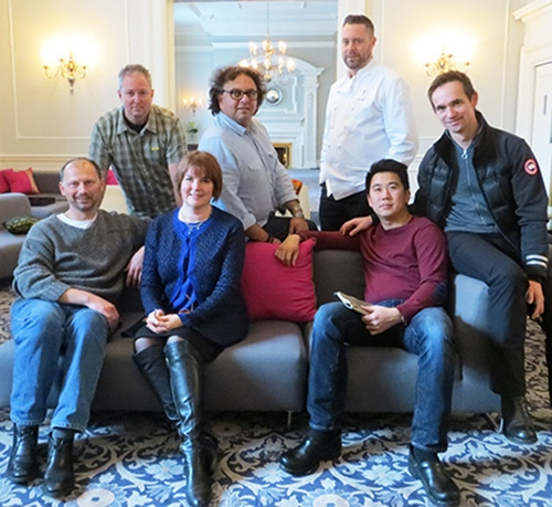 From left: Frank Pabst, Scott Jaegar, Barbara-Jo McIntosh, Vikram Vij, Sean Cousins, Angus An and Thomas Haas are working together to create a memorable Vancouver welcome for Ferran Adria. Absent from photo is Hidekazu Tojo. — Image credit: Martha Perkins
