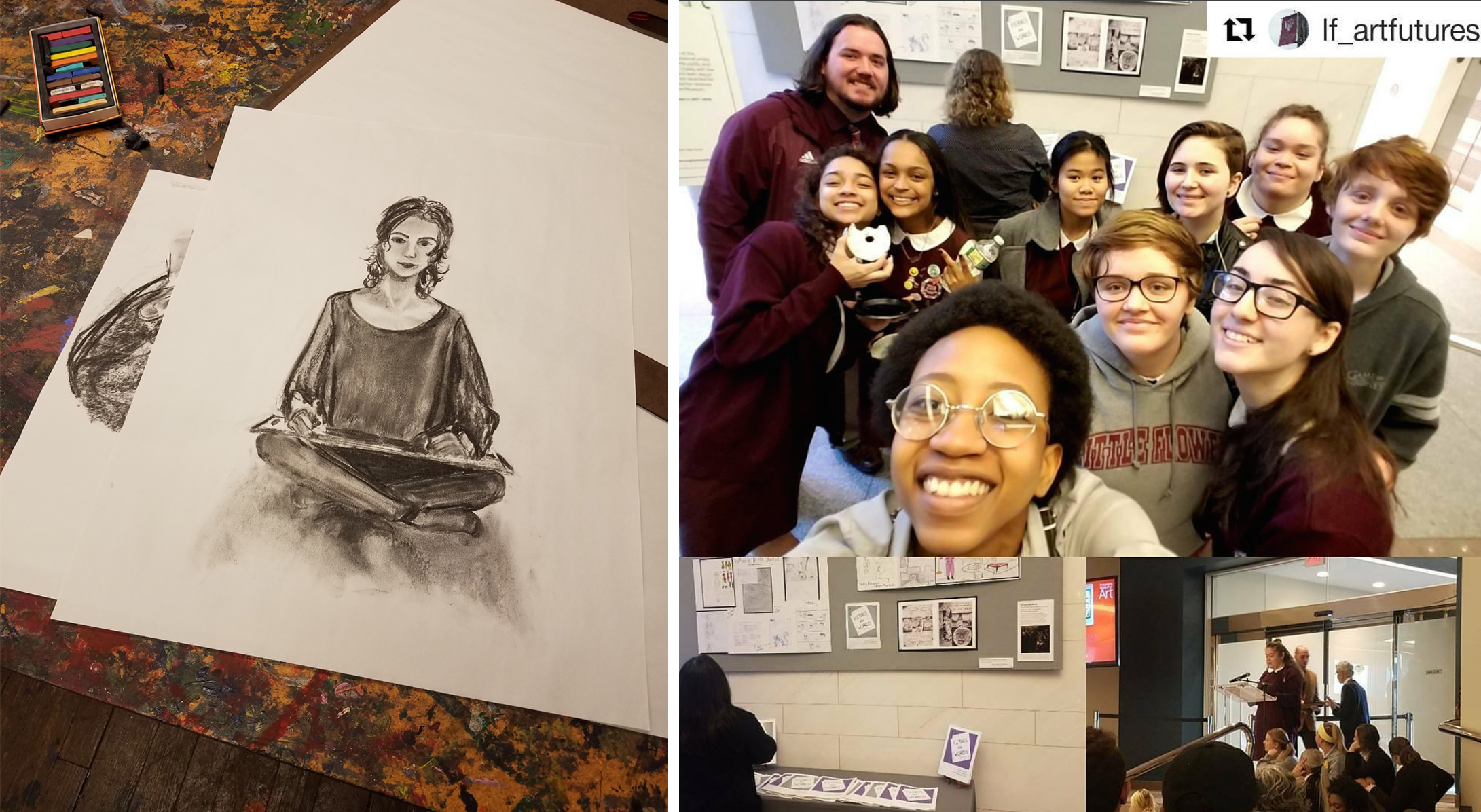 Left: A drawing from one of my Adult Drawing students at UCAL.  Right: My Art Futures class and I, their comic presentation, and one of them receiving an award on behalf of her workshop group.
