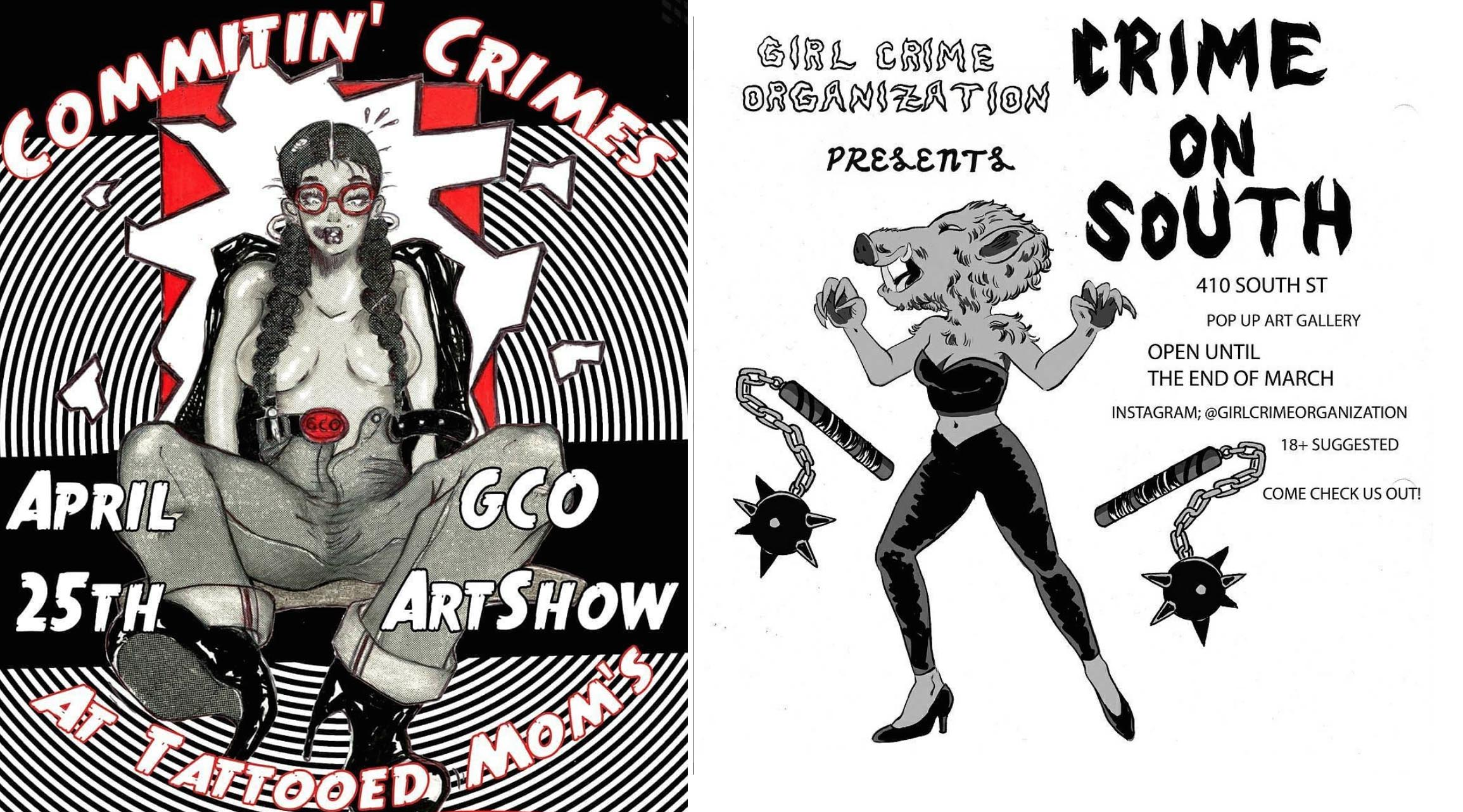 Left: The poster for GCO's show a Tattooed Mom, designed by  Mechanical Pencil Girl .  Right: GCO's flyer for our pop-up on South St, designed by  Tia Gutss .