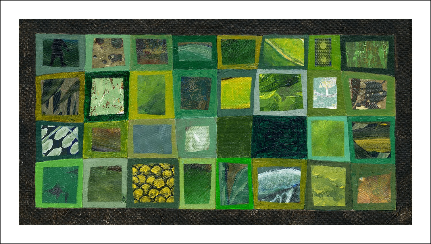 """All Green"" from ""GREEN"" 17"" x 10"" on archival canvas"