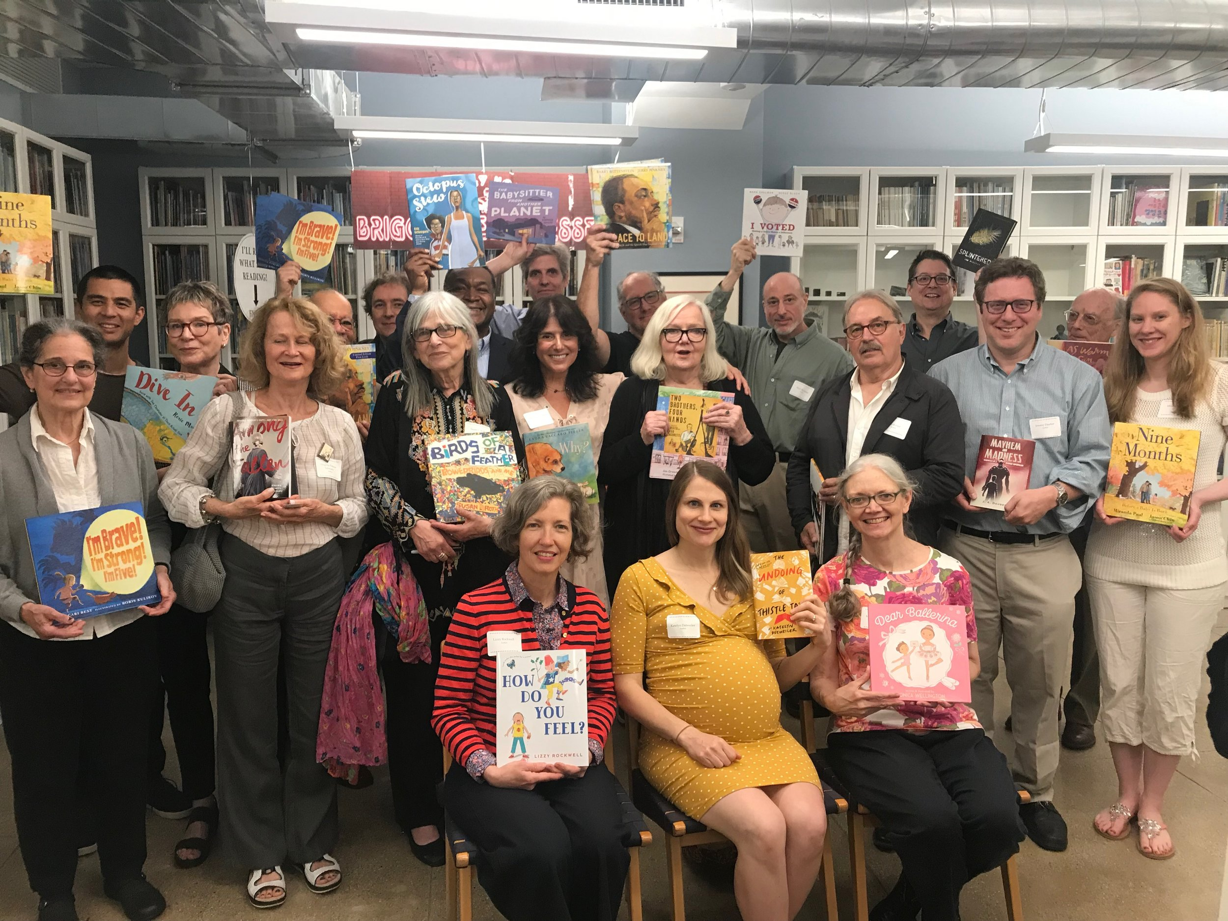 A whole bunch of us authors in the amazing Holiday House library
