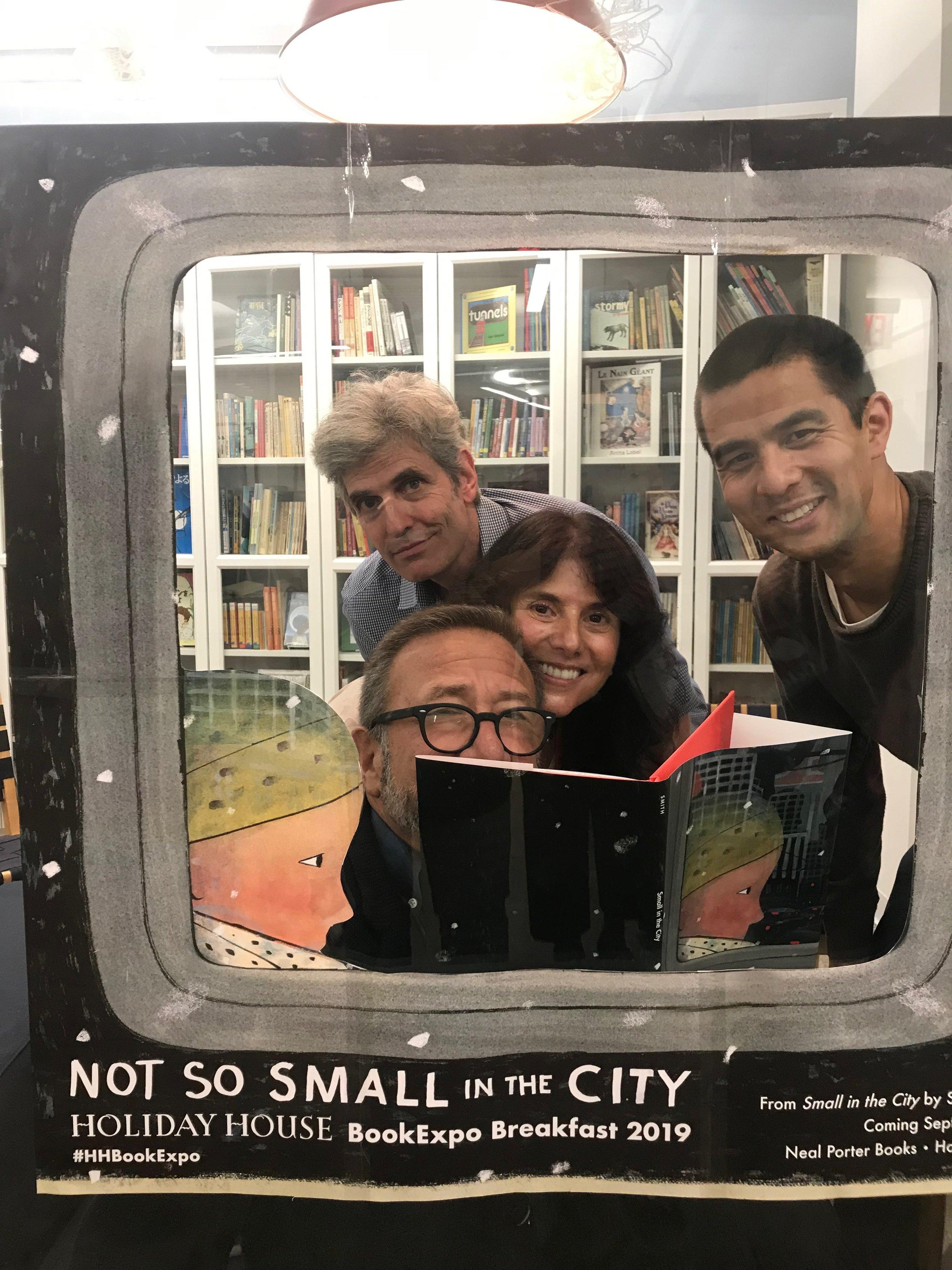 Pictured: Stephen Savage, Neal Porter, me, Jason Chin