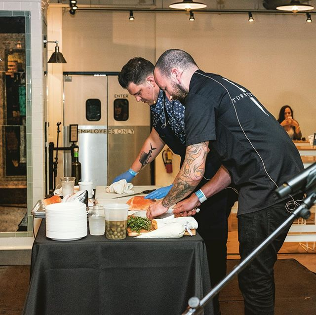 "Congrats to Taste Talks Chicago alum, @insta.flamm of @spiaggiachicago for winning this season's @bravotopchef! Here's a shot of him with Galen Garretson dropping knowledge at the ""Knife Skills"" demo at last year's Taste Talks Chicago:"