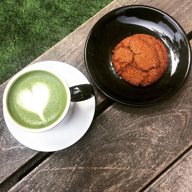 We're taking a break on the grass with a matcha latte and maple cookie. What's your go to for a breaktime snack? #matchalatte #maplecookie #food ❤️