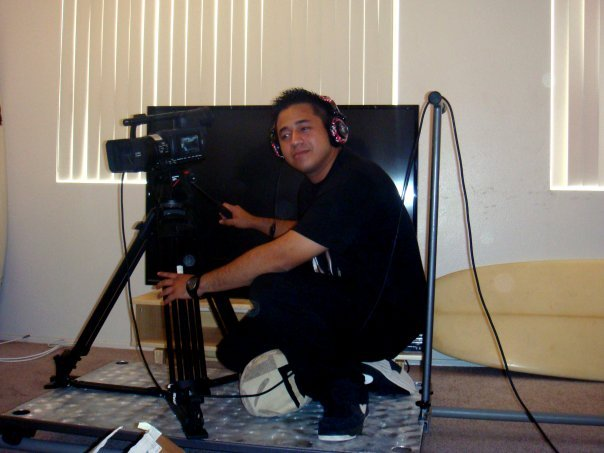 Cinematographer Ray Roman on set of Fatal Frames (2009)