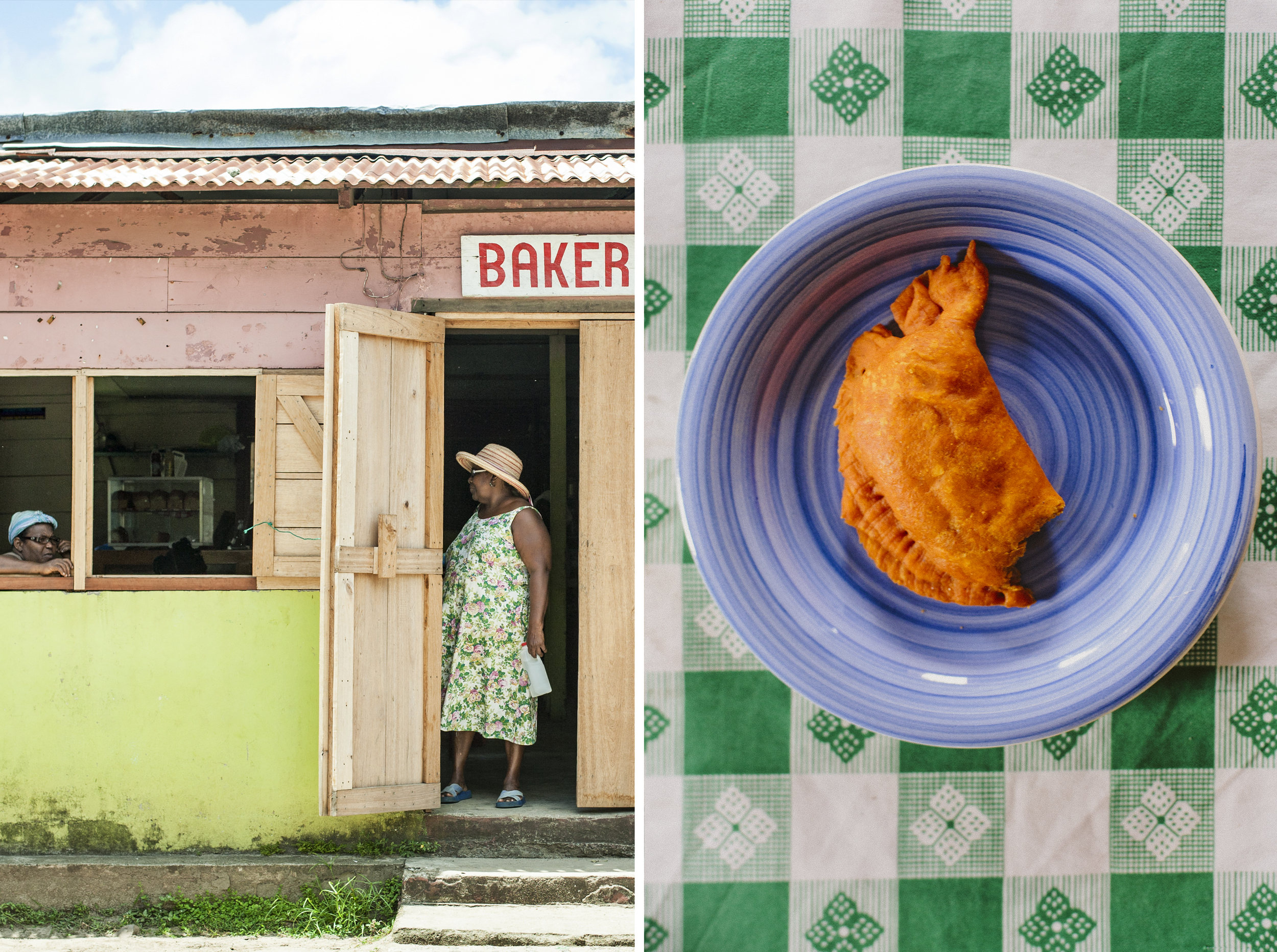 "Bakery in Pearl Lagoon. On the right ""Patí Costeño"". Local empanada (also called ""Pastel"" and ""Pate"" in Haitian Creole) is a bread  or pastry filled with seasoned meats (usually ground beef or chicken), folded into dough, and deep-fried."
