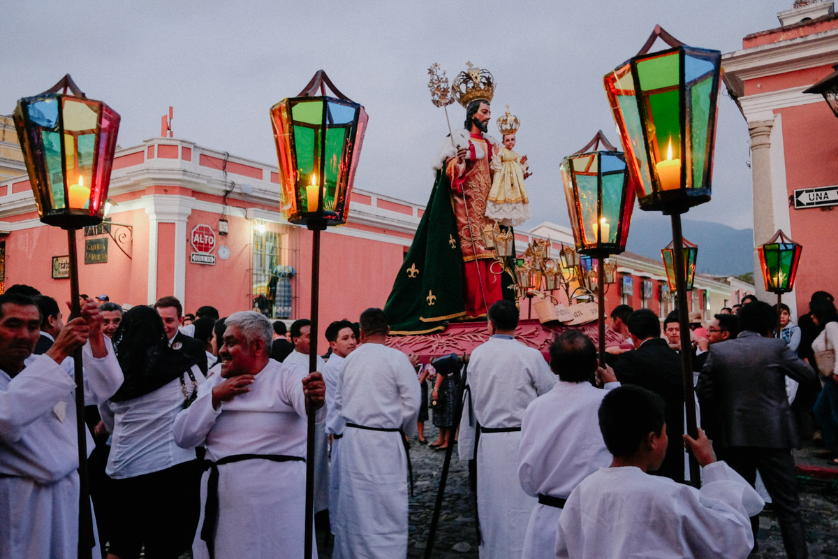 One of the Christmas processions in Antigua, Guatemala