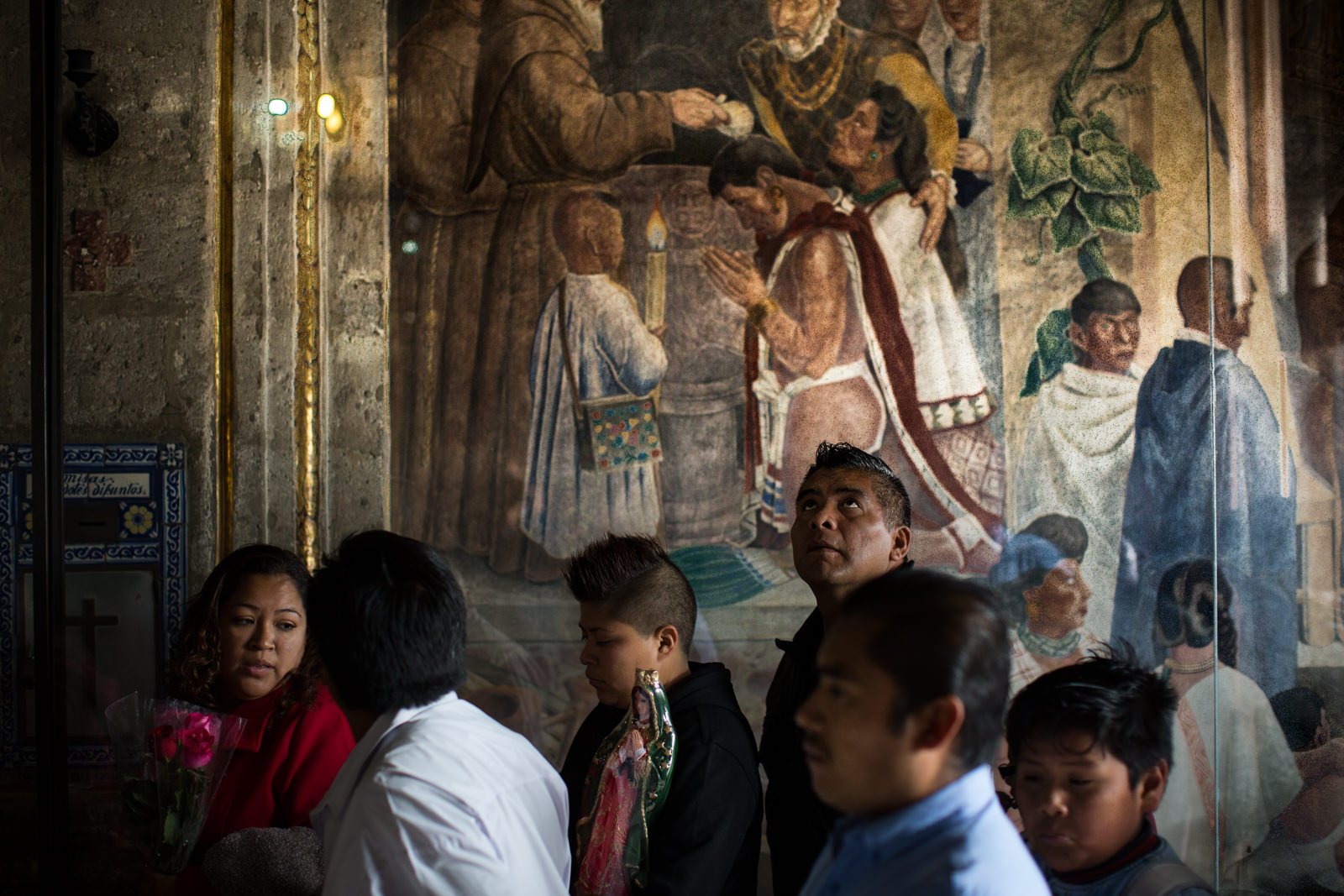 Baptism of indigenous population. A Fresco inside a chapel located in the Villa de Guadalupe complex.
