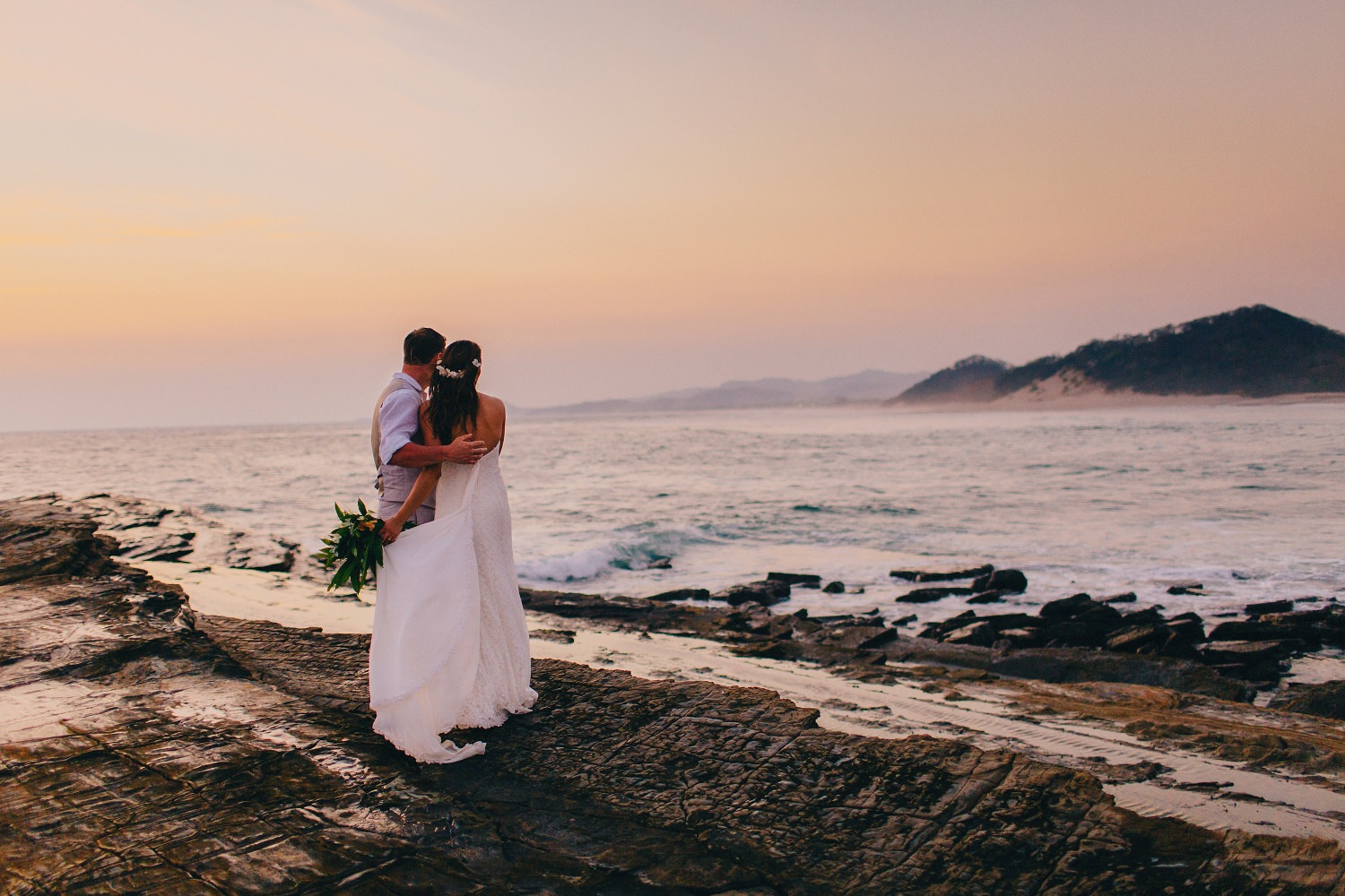Looking towards the horizon. Nicaragua beach wedding photography