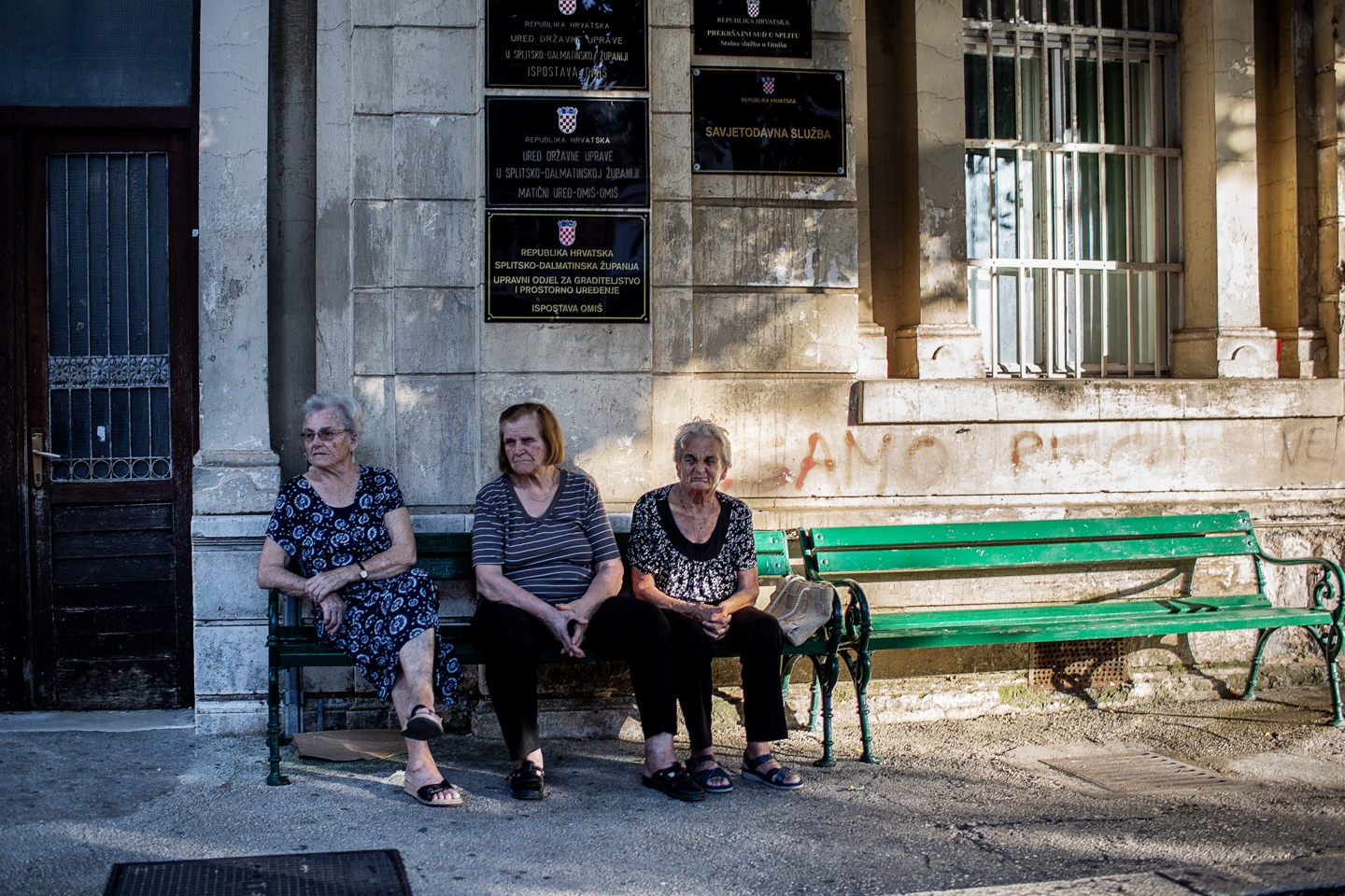 Slavic classic - old ladies sitting on the bench and gossipin