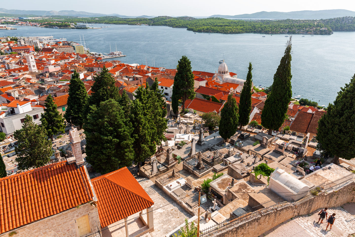 View over Sibenik and its cemetery from St. Michael's Fortress.