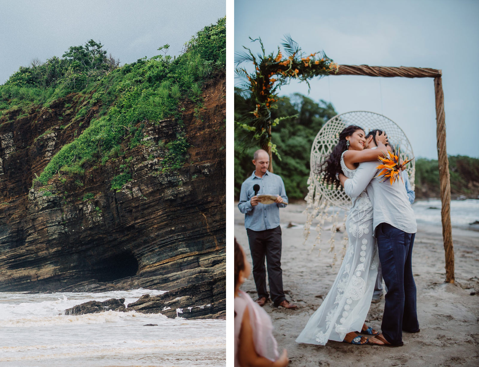 Wedding photographer in Coco beach, Costa Rica. Tropical beach destination wedding.