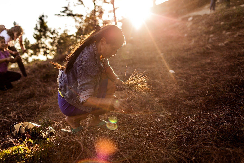 indigenous woman collecting pine leaves _ humanitarian photographer-Exposure.jpg