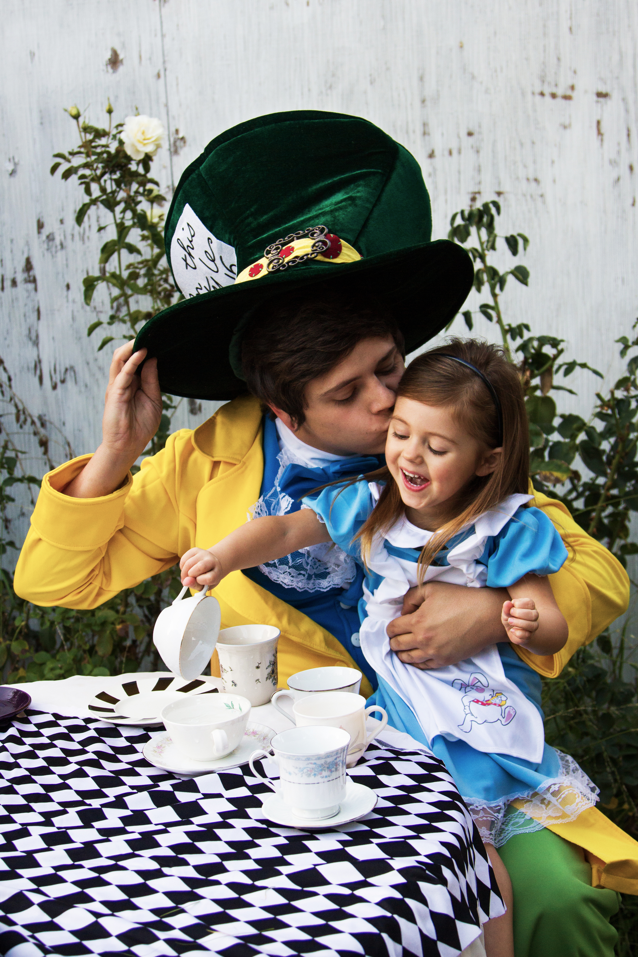 My brother Dustin and niece Lyric as The Mad Hatter and Alice