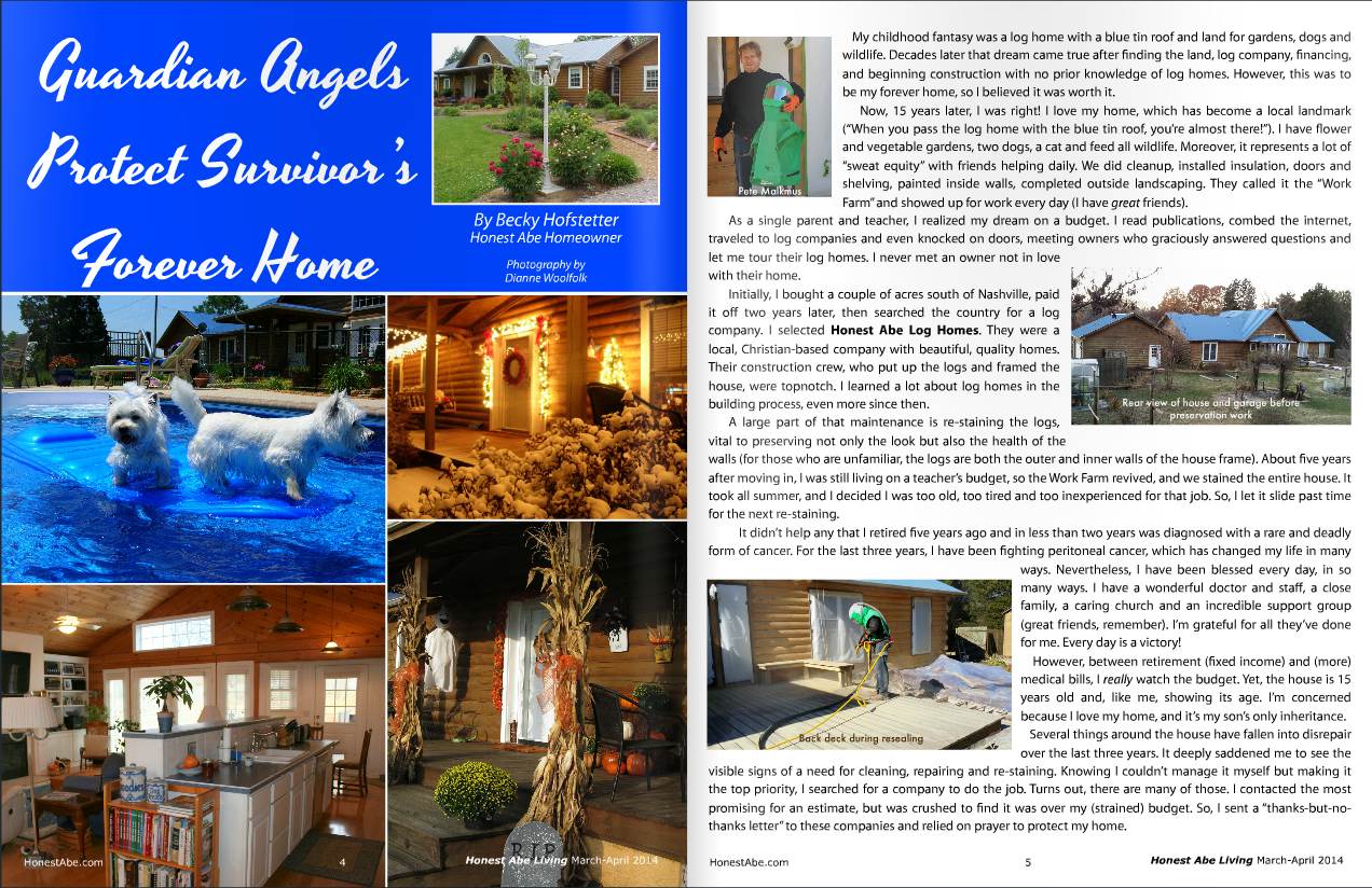"Mountain Top featured in ""Guardian Angel"" article in March-April edition of Honest Abe Living."