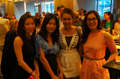 Nora, Kaixin, Miranda, and Percia in the cocktail mixer