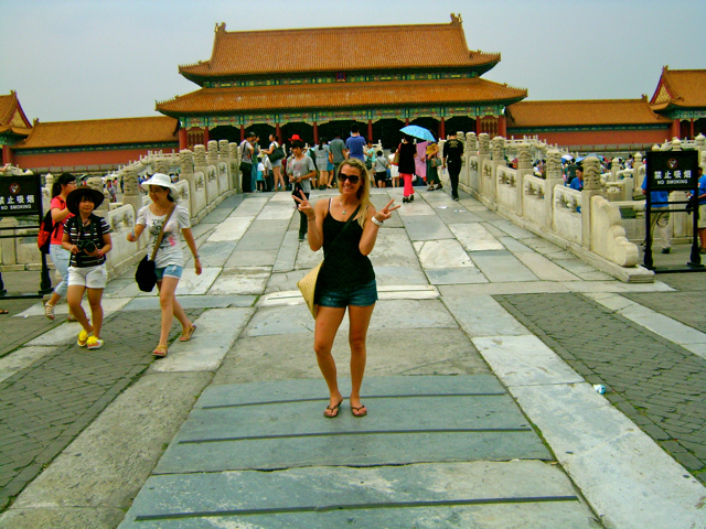 Crossing a bridge in the Forbidden City