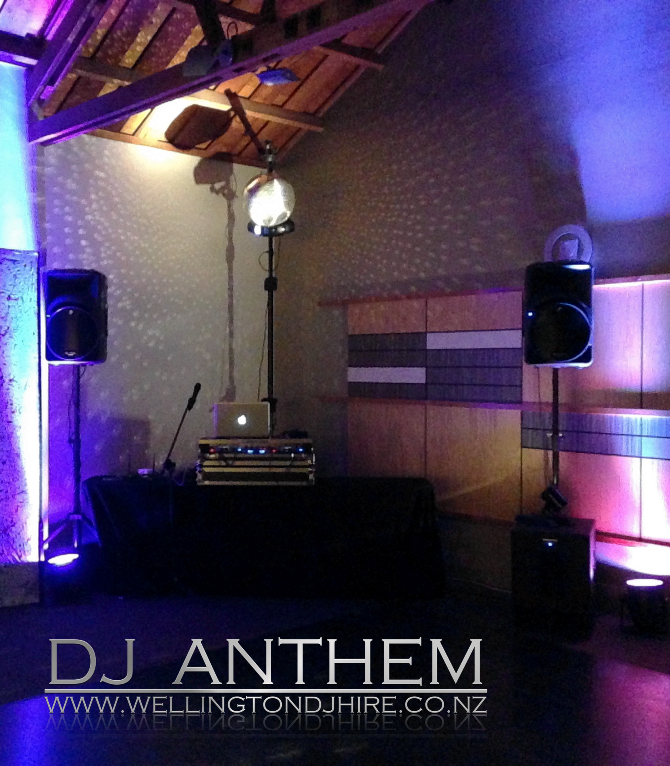 z Wellington DJ hire DJ setup with Mirror ball.jpg