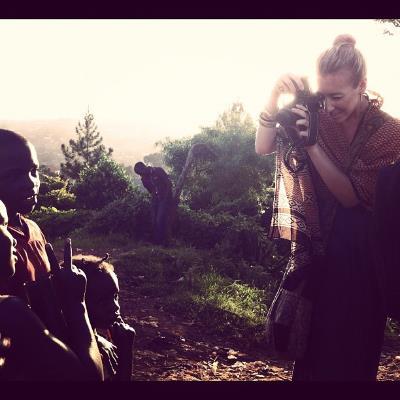 Christine filming in Uganda