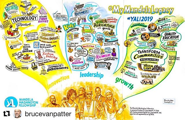 We're thrilled to be a part of the incredibly inspiring #mymandelalegacy program again this year. Our Associate, @brucevanpatter, once again raises the bar for compelling #graphicrecording! . . .  #Repost @brucevanpatter with @get_repost ・・・ Here's a rare project I'm allowed to share: a 8' x 12' mural of tweets in a conference.  Took two days.  Gig courtesy of Crowley & Co.  Great fun! #mymandela #tweetmural #liveart #mandelawashingtonfellowship