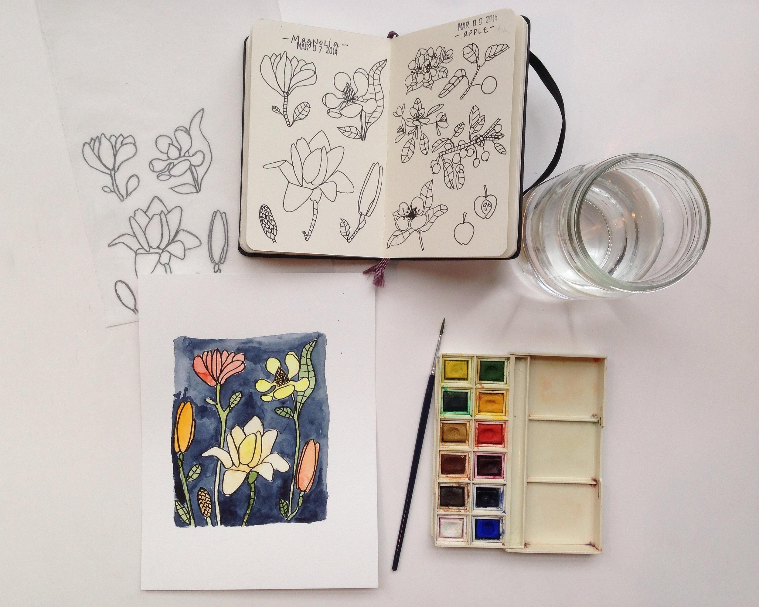 watercolor magnolias | year of creative habits