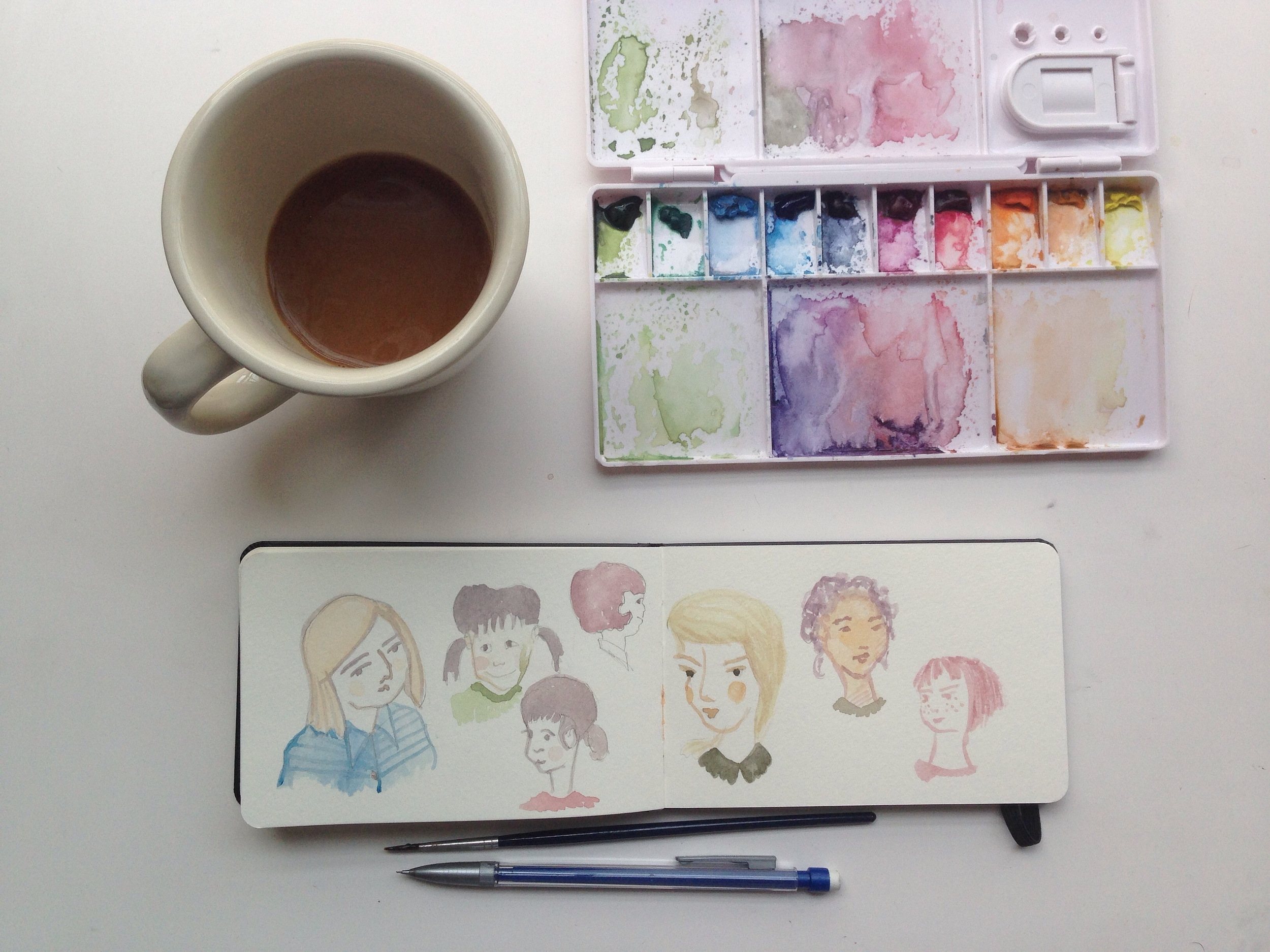 watercolor girls | year of creative habits