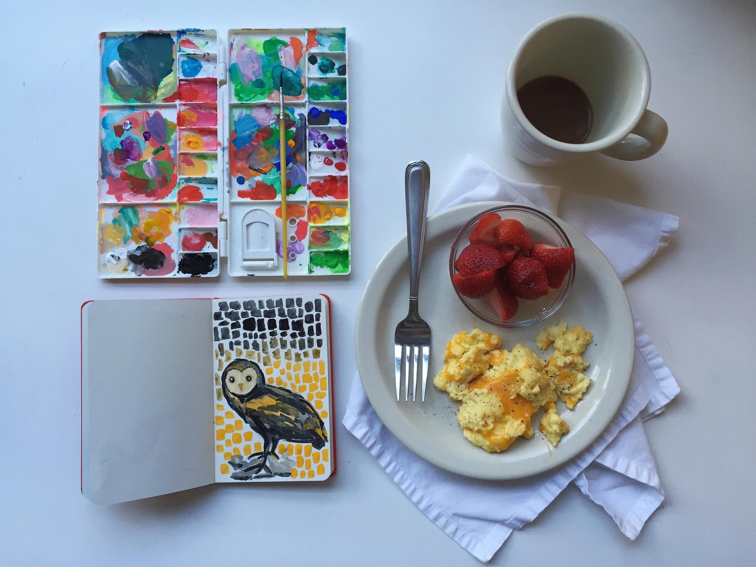 barn owl goauche   year of creative habits