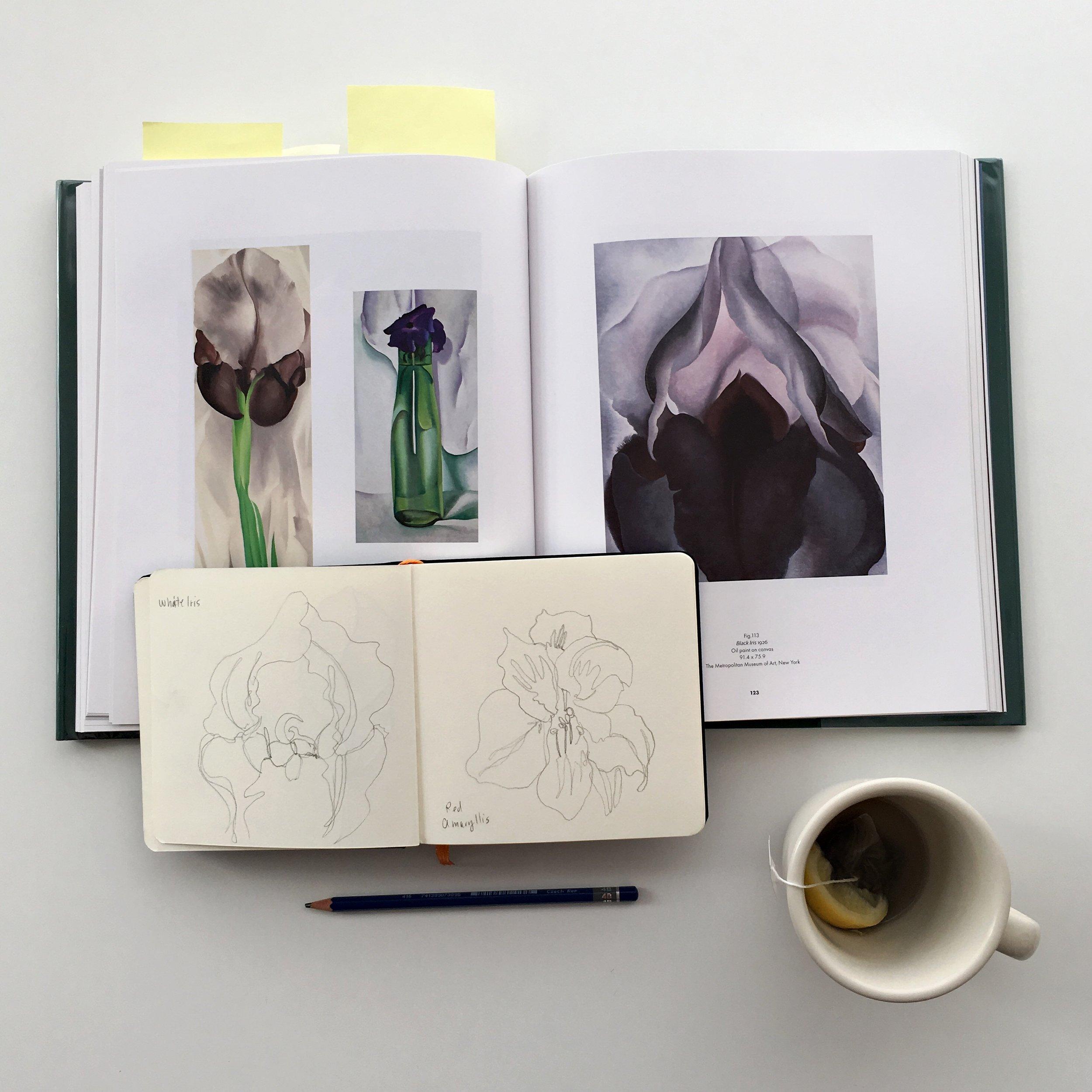 Crystal Moody   #deadartistssociety Geogia O'Keeffe sketchbook