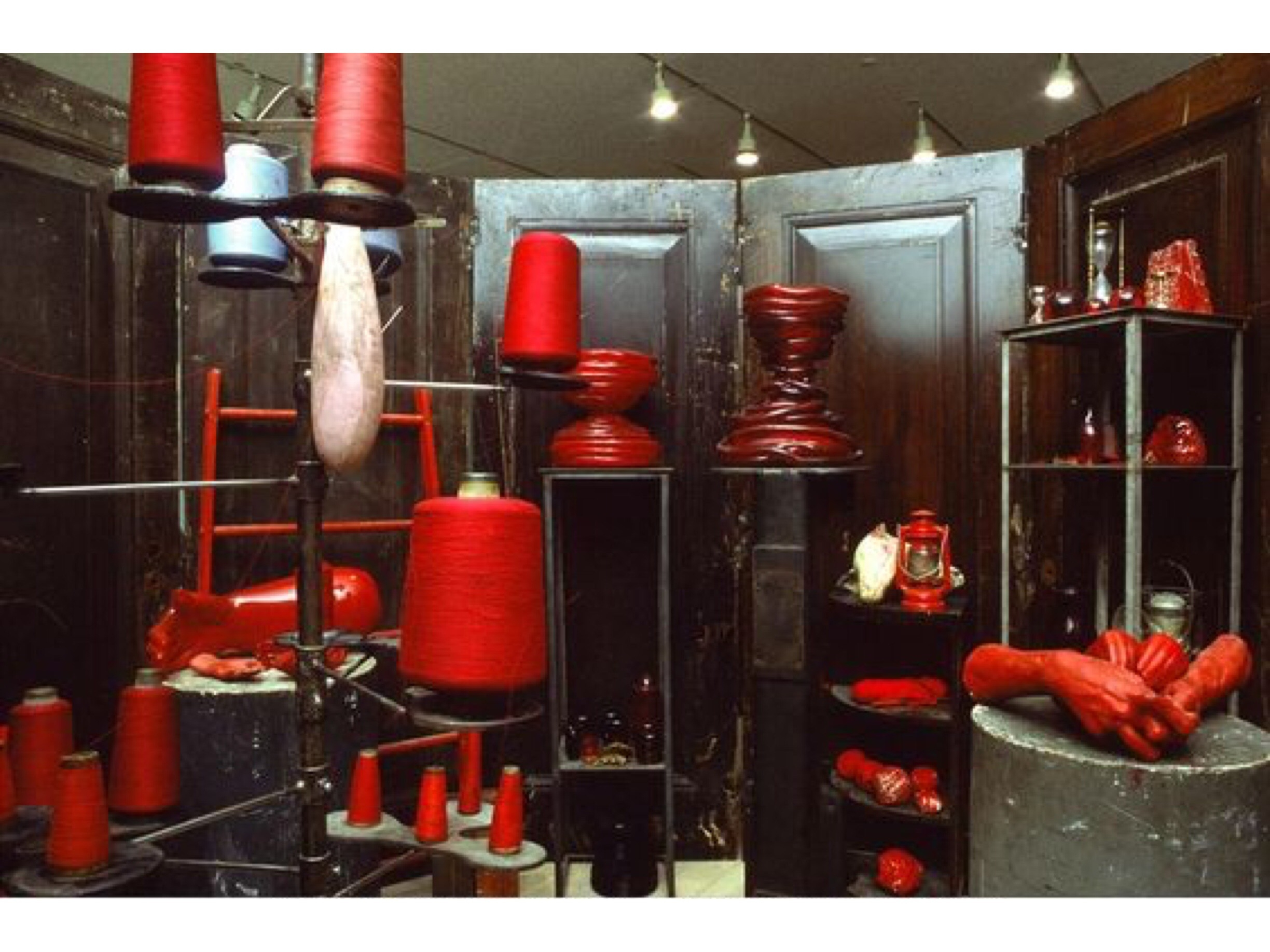 a scene from Red Room Child 1994, an installation by Louise Bourgeois that draws on memories from her childhood