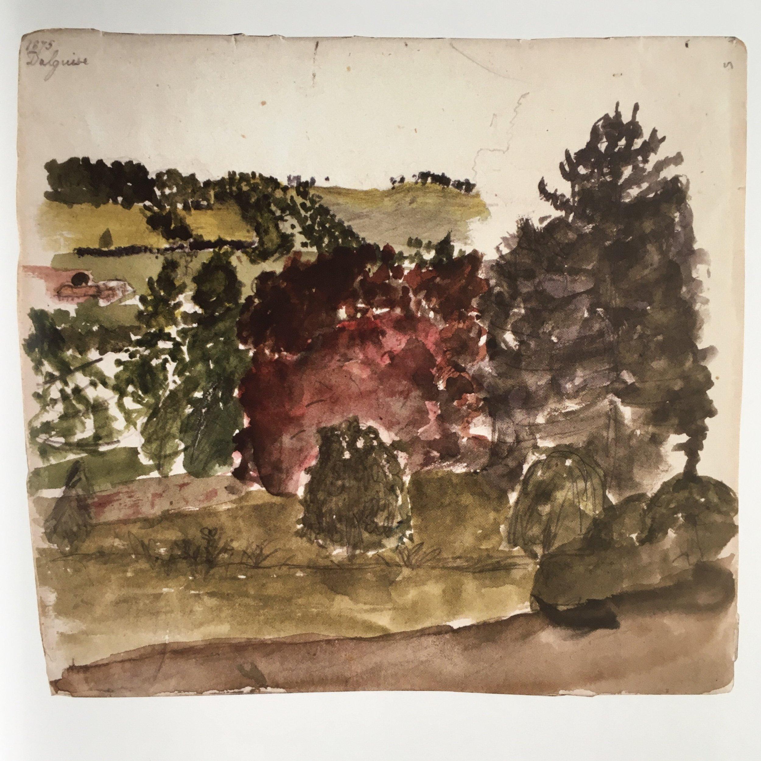 watercolor landscape at age 8