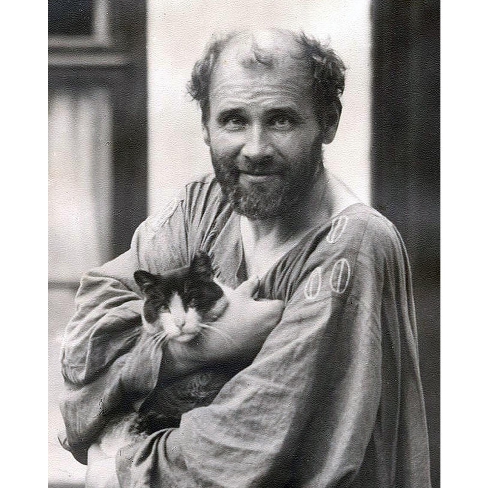 Gustav Klimt and his Cat, Katze, at his Studio, c. 1912