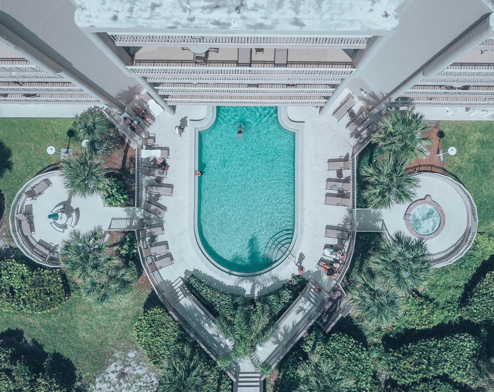 Drone shot of the pool at Veranda Beach Club